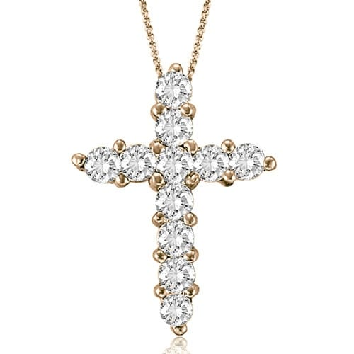 2.00 cttw. 14K Rose Gold Round Cut Diamond Big Cross Pendant
