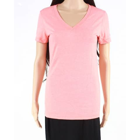 Reebok Women's T-Shirt Coral Pink Size Small S V-Neck Short Sleeve