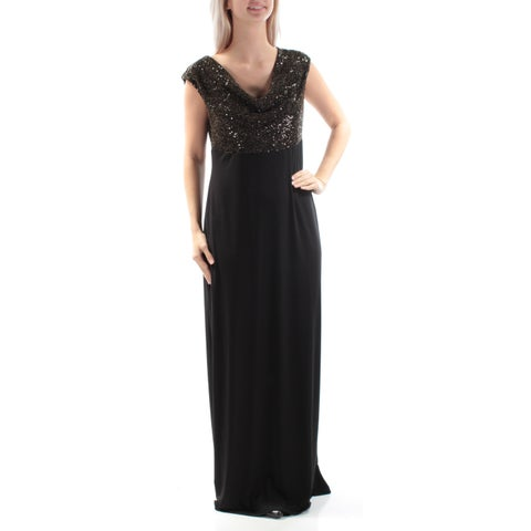 CONNECTED Womens Black Sequined Cap Sleeve Cowl Neck Full Length Pencil Evening Dress Size: 6