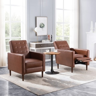 Mervynn Mid-Century Modern Button Tufted Recliners (Set of 2) by Christopher Knight Home