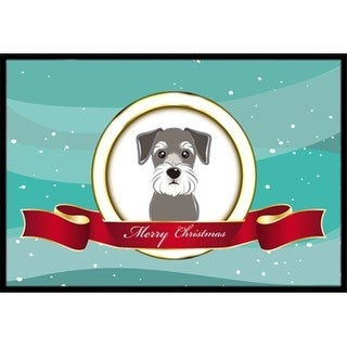 Carolines Treasures BB1516JMAT Schnauzer Merry Christmas Indoor & Outdoor Mat 24 x 36 in.