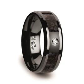 Blue Dinosaur Bone Inlaid Black Ceramic Diamond Wedding Band with Beveled Edges 8mm