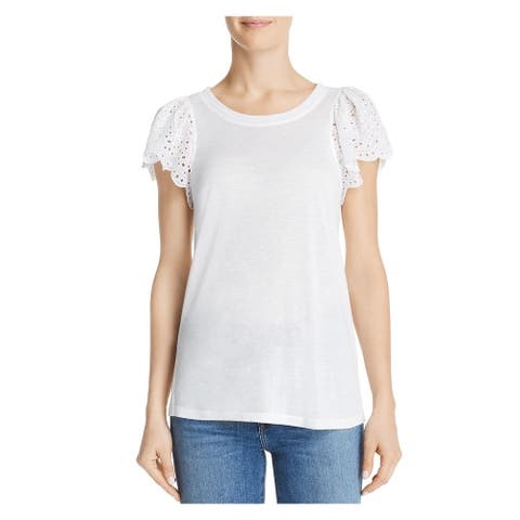 REBECCA TAYLOR White Cap Sleeve T-Shirt Top Size S