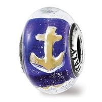 Italian Sterling Silver Reflections Foil Anchor Blue Glass Bead (4.5mm Diameter Hole)