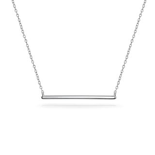 Bling Jewelry .925 Silver Modern Bar Pendant Necklace 16 Inches Rhodium Plated