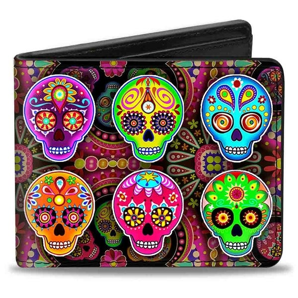 Six Sugar Skulls Multi Color Bi Fold Wallet - One Size Fits most