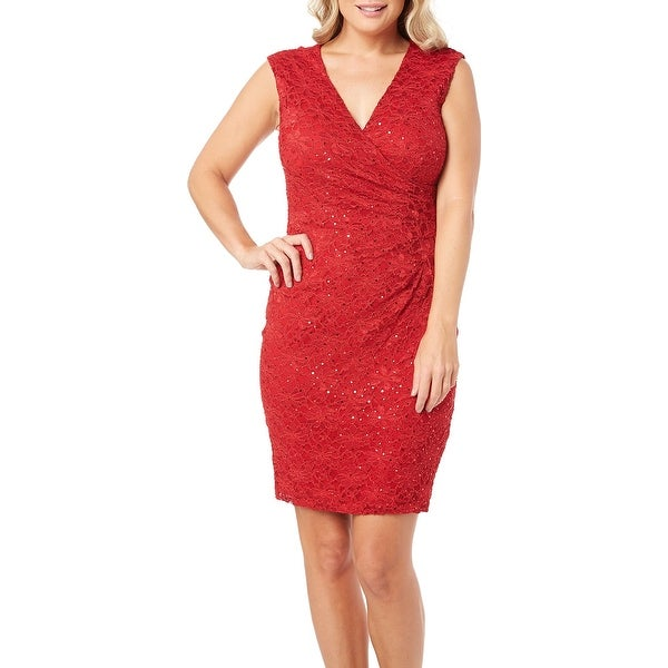 8339f1a363 Connected Apparel Red Women's 12 Floral Lace Sequin Sheath Dress