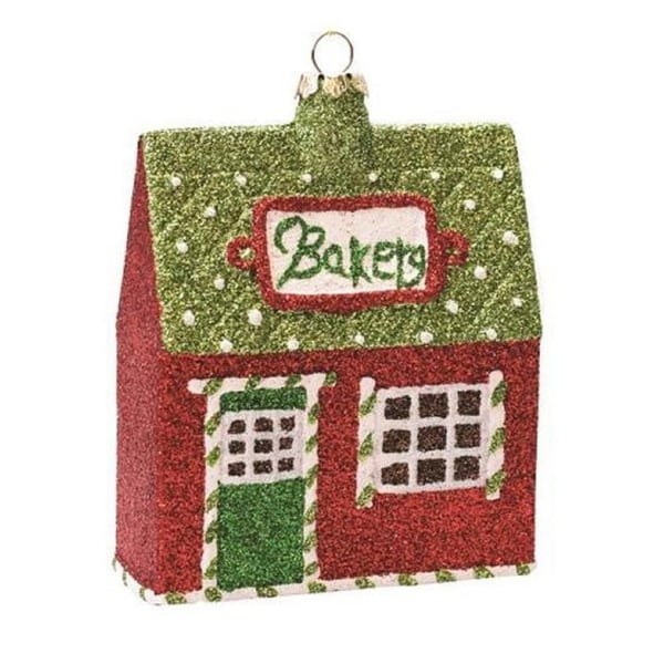 """4"""" Merry & Bright Green, Red and White Glittered Shatterproof """"Bakery"""" Christmas Ornament"""