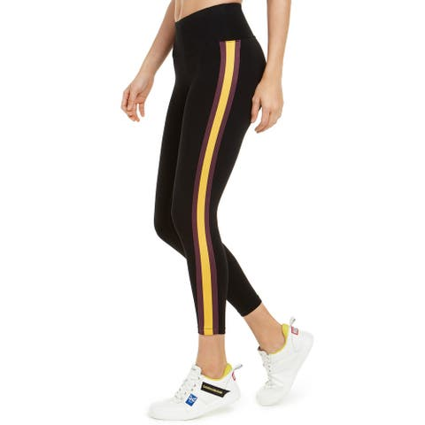 Calvin Klein Women's Striped High-Waist Leggings, Black/Yellow, M