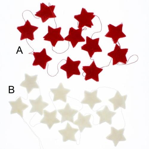 White/Red Felt Star Garland