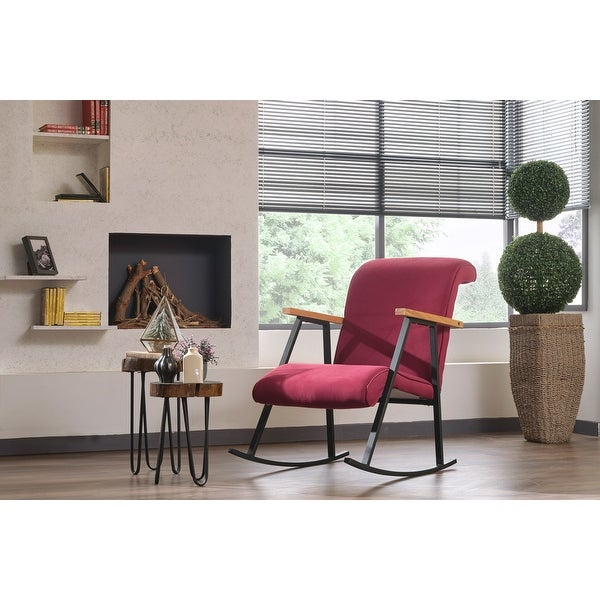 Yalef Upholstered Metal Frame Rocking Chair. Opens flyout.
