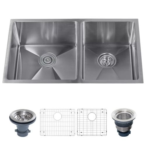 "Miseno MSS3219SR6040 32"" Undermount Double Basin Stainless Steel Kitchen Sink with 60/40 Split - Drain Assemblies and Fitted"