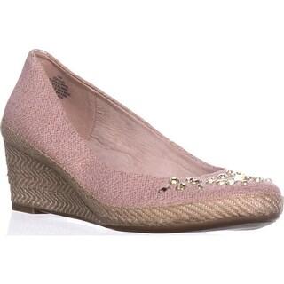 Easy Spirit Kalijo Espadrille Gem Wedge Heels, Pink/Pink