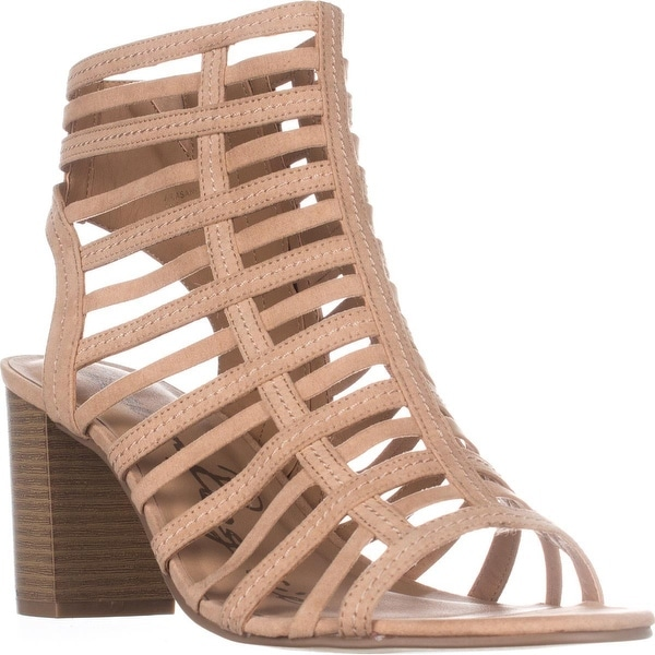 AR35 Sanchie Block-Heel Sandals, Light Sand
