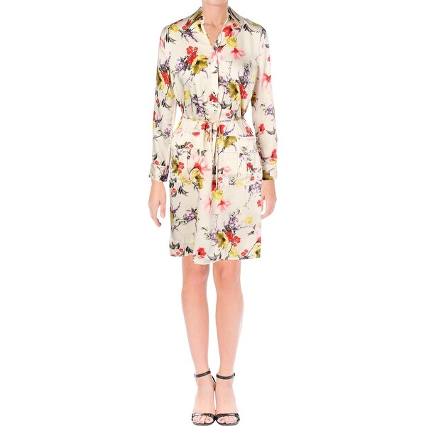 2d5c3dcd06 Shop Lauren Ralph Lauren Womens Quinton Shirtdress Floral Print Knee ...