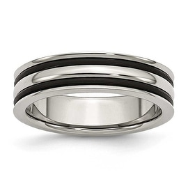 Stainless Steel 6mm Grooved and Black Rubber Band
