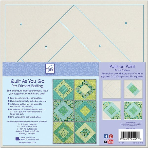 Quilt As You Go Printed Quilt Blocks On Batting-Paris On Point