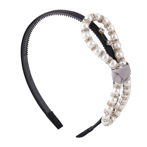 Women Imitation Pearl Bowknot Decor Ornament Headwear Comb Hair Band Head  Hoop 7f1331bcd55