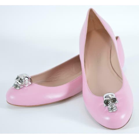 Alexander McQueen Pink Leather SKULL Hardware Ballet Flats Shoes