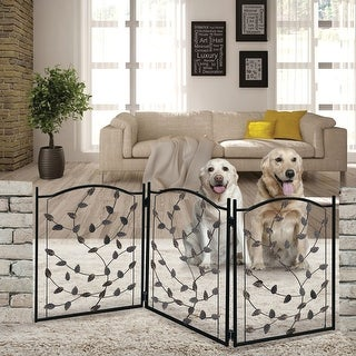 Etna 3-Panel Leaf Design Metal Pet Gate - Decorative Tri Fold Dog Fence - Black - 23 in. x 53 in. x 1 in.