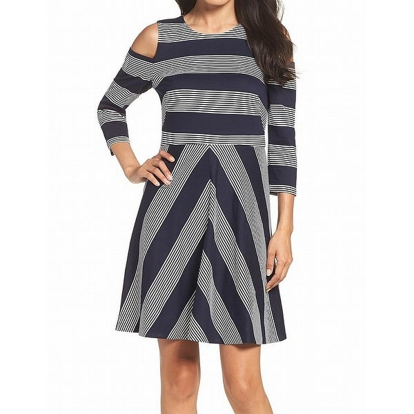 Eliza J Women's Striped Cold-Shoulder Sheath Dress