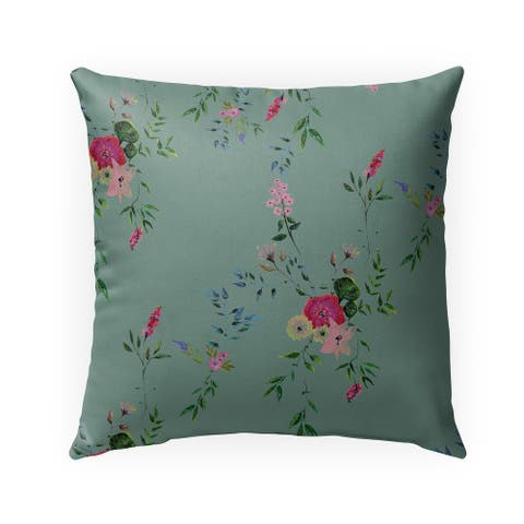 FLORAL GREEN Indoor-Outdoor Pillow By Anne Cote