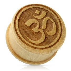 Ohm Symbol Organic Wood Double Flared Plug (Sold Ind.)