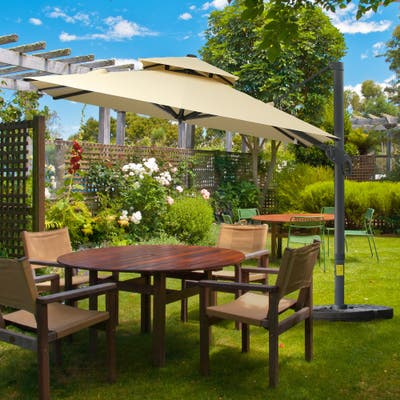 Outsunny 10' x 10' Rotating Outdoor Patio Cantilever Umbrella with Double-Tier Canopy & 4 Adjustable Tilt Angles