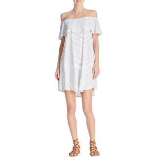 Rebecca Minkoff Womens Casual Dress Striped Off The Shoulder