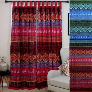 Handmade 100% Cotton Kalamkari Floral Tie Dye Tab Top Curtain Drape Panel - Red & Blue Green - 44 x 88 inches