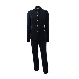 Tahari ASL Women's Plus Size Five-Button Stand-Collar Pantsuit - Navy