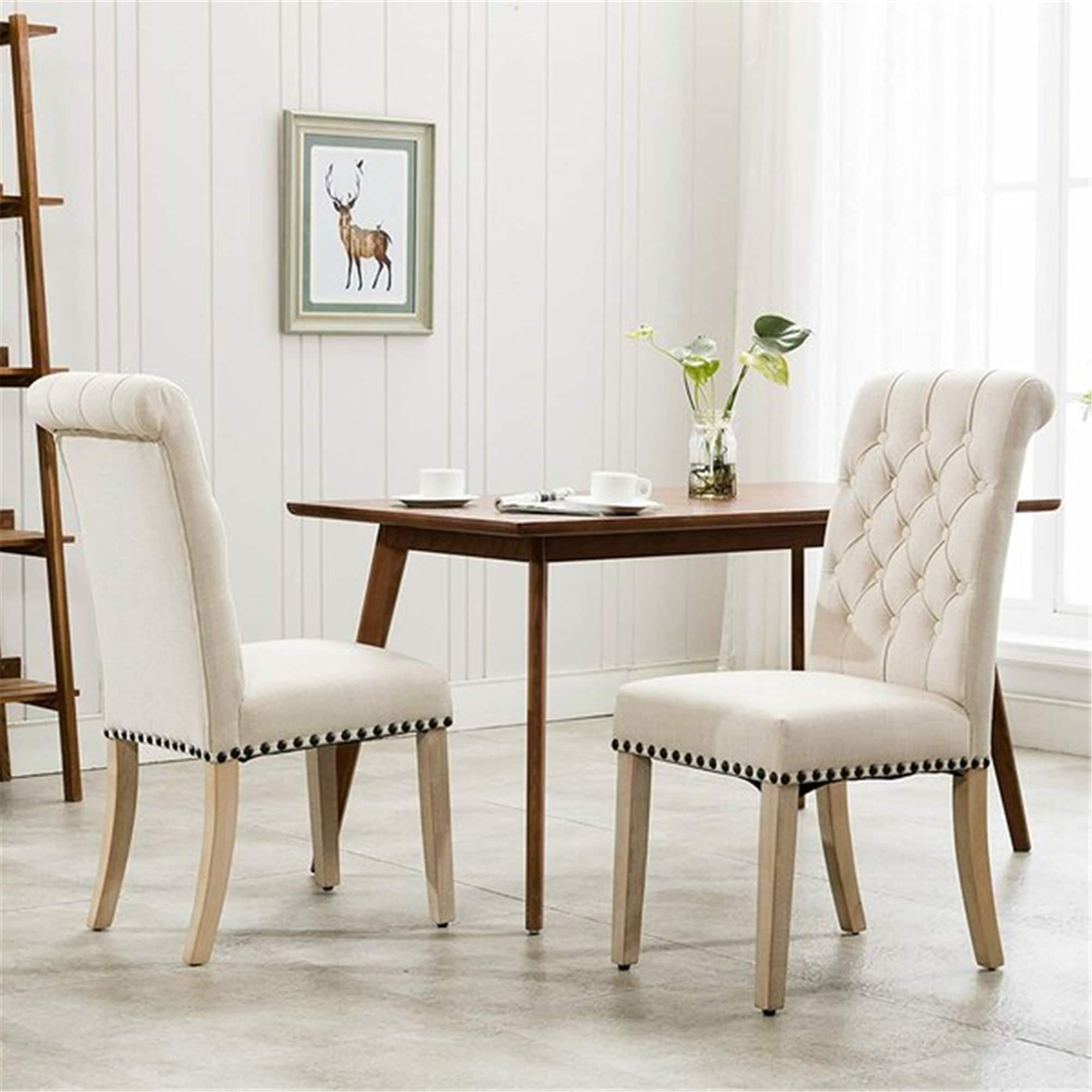 Tufted Linen Upholstered Parsons Chair Set Of 2 Overstock 32338237