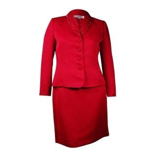 Tahari Women's Bead & Sequin Embellished Skirt Suit (14, Ruby Red)