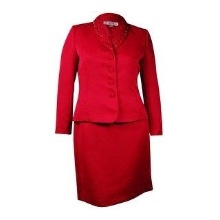 Tahari Women's Bead & Sequin Embellished Skirt Suit (4, Ruby Red)