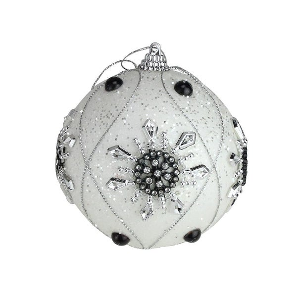 Pack of 6 December Diamonds White Snowflake Shatterproof Ball Ornaments 3.75""