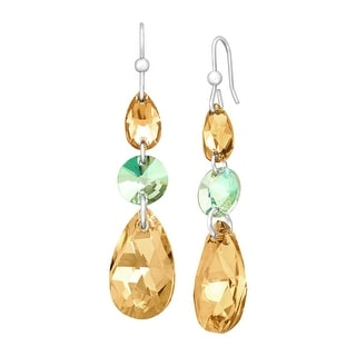 Crystaluxe Triple Drop Earrings with Champagne Swarovski Crystals in Sterling Silver