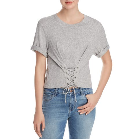 Joie Womens Lizeth Lace Up Embellished T-Shirt