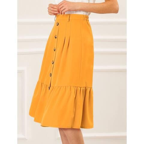 Allegra K Women's Button Decor Belted Flare Ruffled Skirt