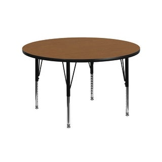 Offex 42'' Round Activity Table with Oak Thermal Fused Laminate Top and Height Adjustable Pre-School Legs