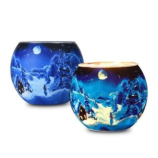 """Kanstar 2 Pack 4"""" Glass Votive Candle Holders for Seasonal Christmas and Home Décor"""