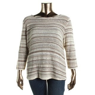 L-RL Lauren Active Womens Plus Crochet Striped Pullover Top - 2X