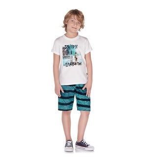 Pulla Bulla Little Boy 2-Piece Set Graphic Shirt and Shorts Outfit