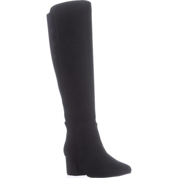 Bandolino Florie Scalloped Knee High Boots, Black/Black - 7.5 us