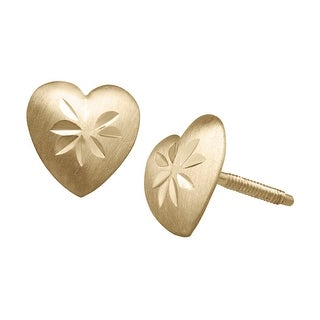 Just Gold Etched Heart Stud Earrings in 14K Gold - Yellow