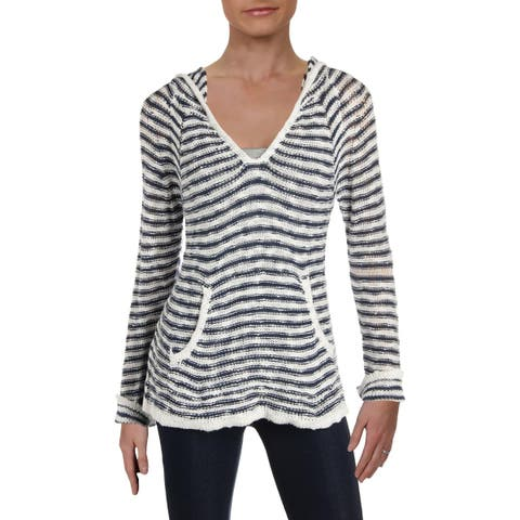 Roxy Womens Juniors Slouchy Morning Pullover Sweater Striped Hooded - M