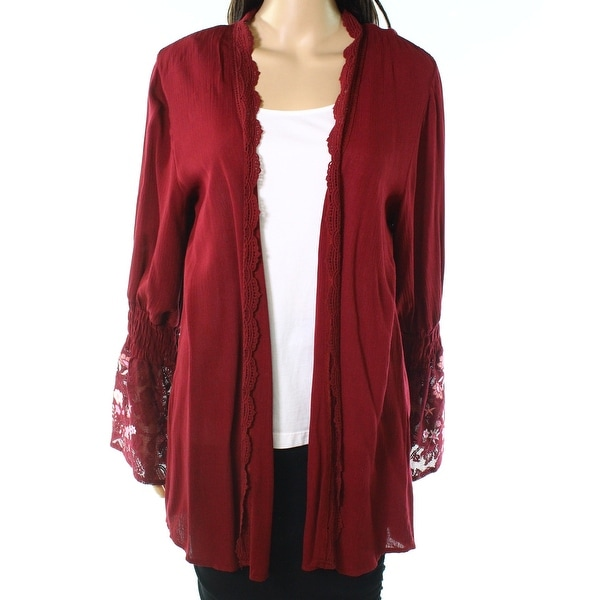 Taylor & Sage Red Size Small S Junior Open Front Lace Sleeve Jacket