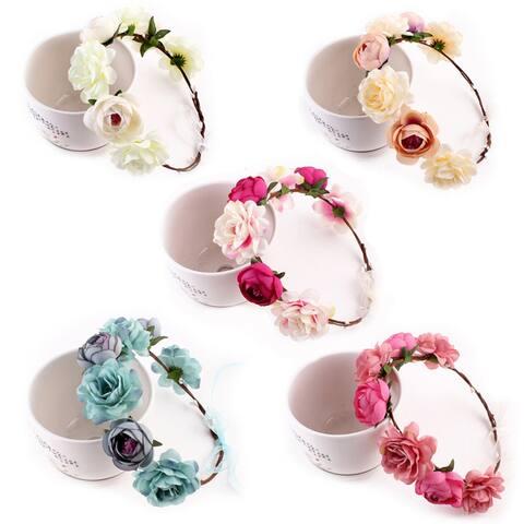 Girls Ladies Boho Floral Garland Hairband Headband Bride Wedding Hair Wreaths - rose red