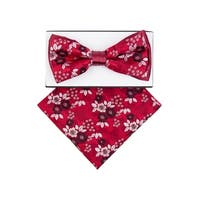 Men's Red Floral Pre-tied Adjustable Two-Tone Bow tie Hanky - One size