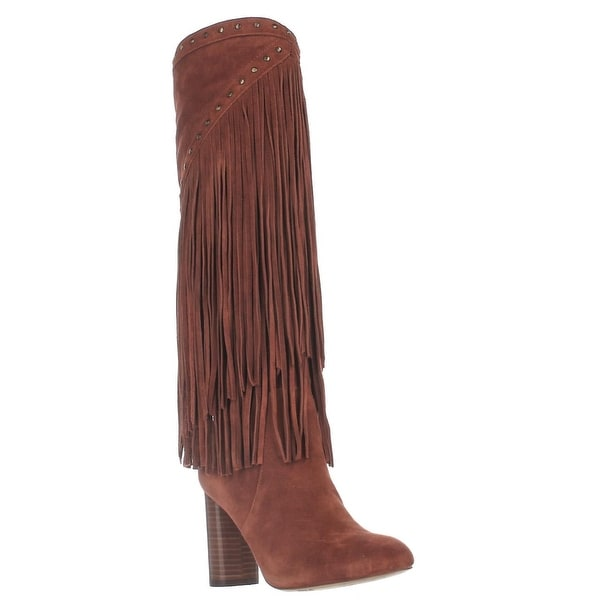 I35 Tolla Tall Fringe Studded Boots, Spiced Orange