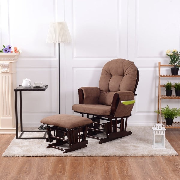 Costway Baby Nursery Relax Rocker Rocking Chair Glider u0026&; Ottoman Set w/ Cushion Espresso : rocking chair with ottoman for nursery - Cheerinfomania.Com